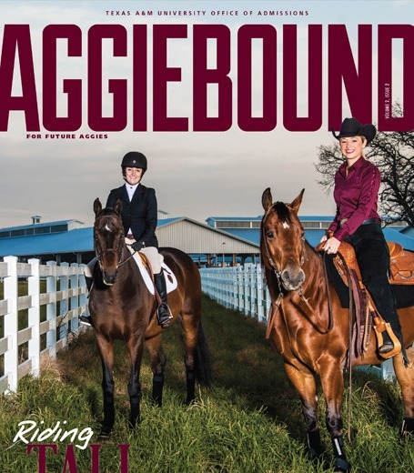 Cover of Aggie Bound magazine, with two students on horses