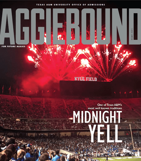 Cover of Aggie Bound magazine, showing Midnight Yell with fireworks above Kyle Field