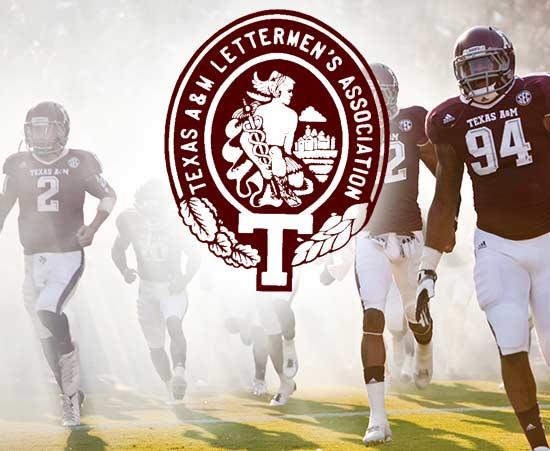 Aggie football players flanking Texas A&M Letterman's Association logo