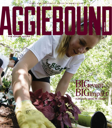 Cover of Aggie Bound magazine, showing students participating in Big Event